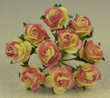 1 cm LIGHT PLUM YELLOW Mulberry Paper Roses